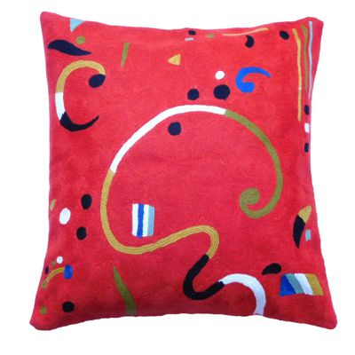 Zaida Kandinsky Terracotta Ribbon Cushion 18""