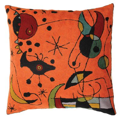 Zaida Miro Kite Flying Orange Cushion 18""