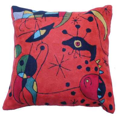 Zaida Miro Kite Flying Terracotta Cushion 18""