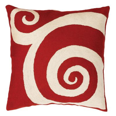 Zaida Red Swirl Cushion 18""