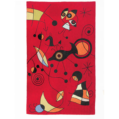 Zaida Miro Kite Flying Red Rug