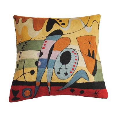 Zaida Handmade Kandinsky Carnival Red Cushion