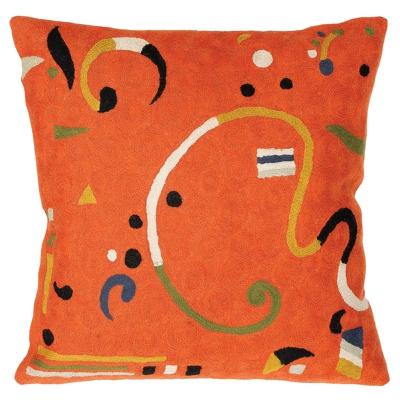 Zaida Kandinsky Orange Ribbon Cushion 18""