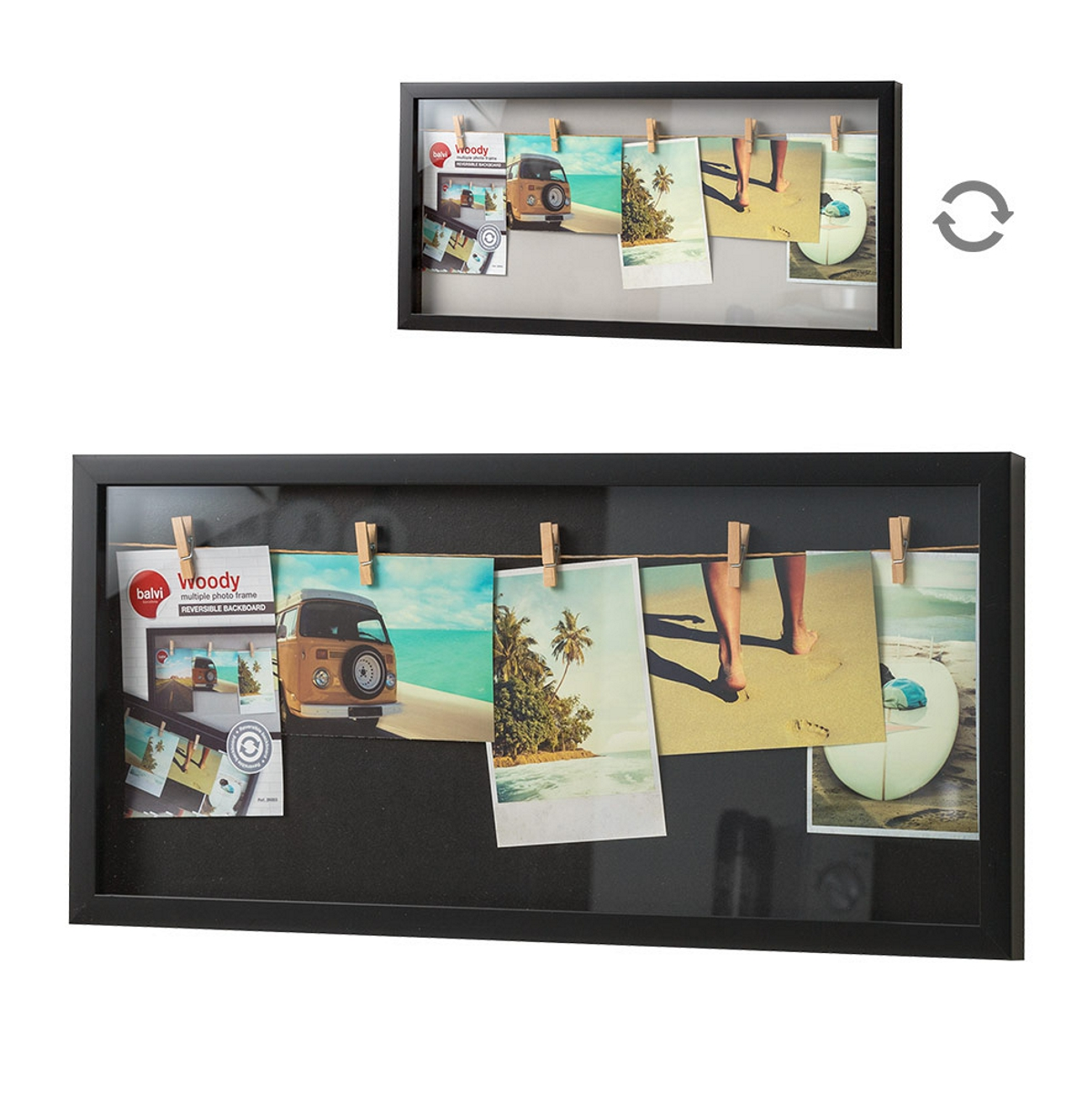 Balvi Woody Multiple 5 Photo Frame Black 26.8 x 56.8 x 3 cm