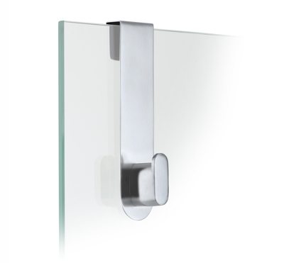 Blomus Areo Brushed Glass Shower Over Door Hook H14cm x 4cm