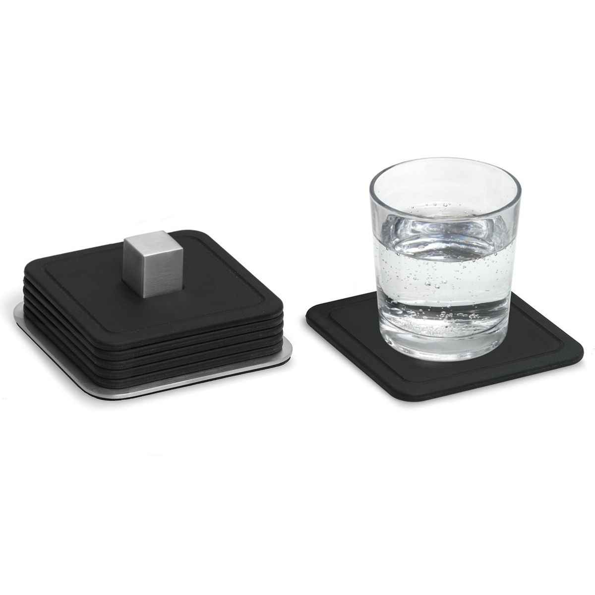 Blomus Coasters and Stand Set Coasters 9.5cm x 9.5cm, Stand H4cm