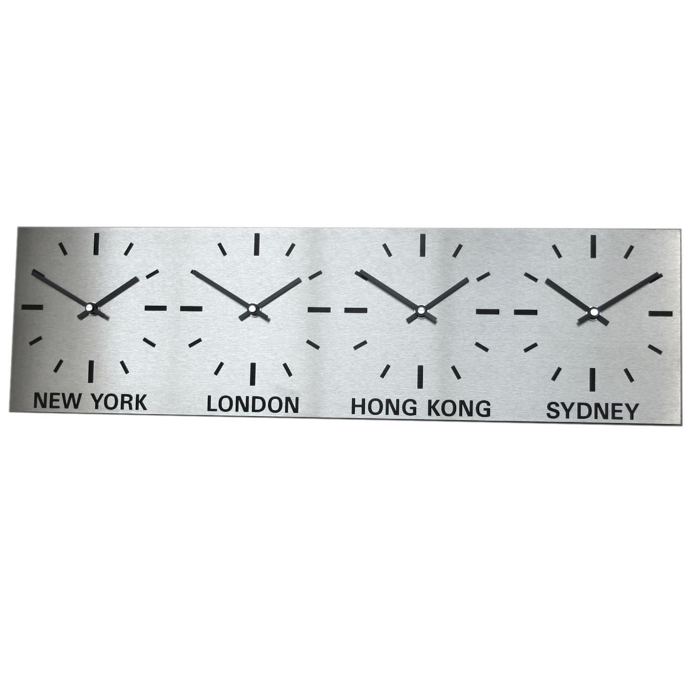 Brushed Stainless Steel 4 Dial Timezone Clock 60cm x 17cm (15cm Dial)