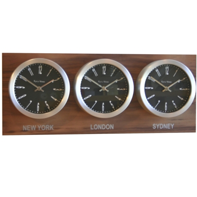 Roco Verre Custom Time Zone 3 Clocks Walnut Range
