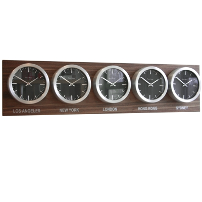 Roco Verre Custom Time Zone 5 18cm Clocks Walnut