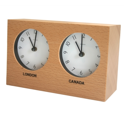 In House Custom Beech Dual Timezone Desk Clock