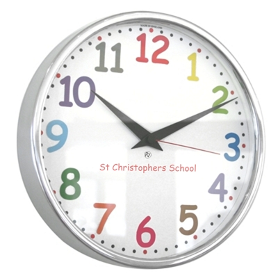 26cm Colour Comic Sans Modern Classic School Clock