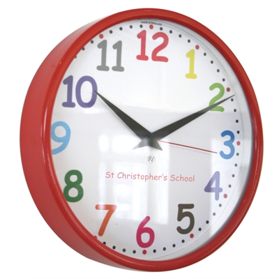 26cm Radio Control Colour Comic Sans School Clock
