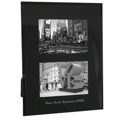Portrait Black Glass Dual Photo Frame Personalised