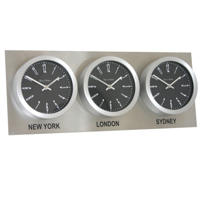 Roco Verre Custom Time Zone 3 Clocks Steel Range
