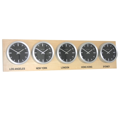 Roco Verre Custom Time Zone 5 Clocks Maple Range