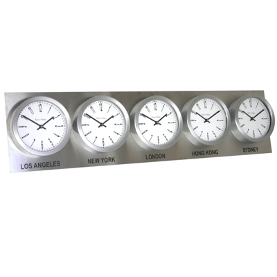 Roco Verre Custom Time Zone 5 Clocks Steel Range