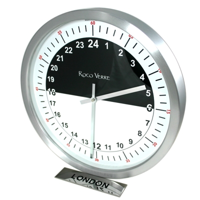 24hr Timezone Day & Night Modern Classic clock Pol
