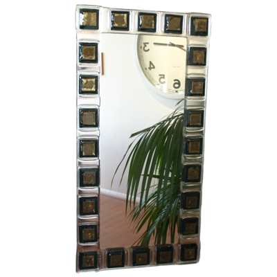 Frank Neikes Black and Gold Leaf Rectangle Mirror