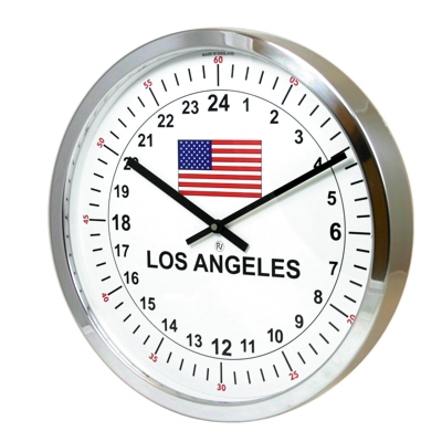 24hr Timezone Flag Modern Classic Clock Polished