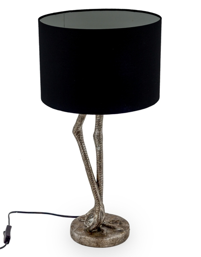 Antique Silver Flamingo Leg Table Lamp Black Shade H60 x W31 x D31cm