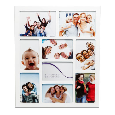 Gallery White Nine Aperture Multi Frame H46cm x W38.5cm Photo Size Various