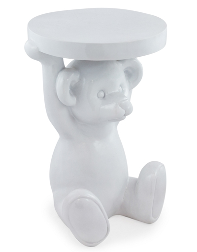Gloss White Funky Modern Teddy Bear Side Table H52 x W37 x D33cm