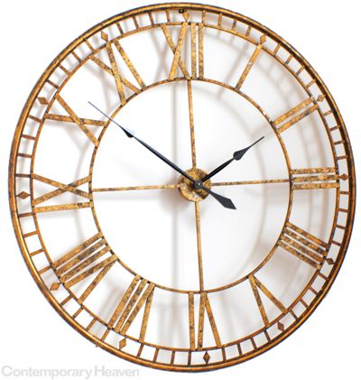 Large Roman Giant Vintage Gold Skeleton Wall Clock 120cm Diameter