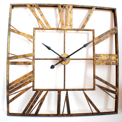 Large Vintage Roman Gold Square Wall Clock 110cm x 110cm