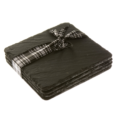Natural Hand Cut Square Slate Coasters 11cm x 11cm Set of 4 + Giftbox