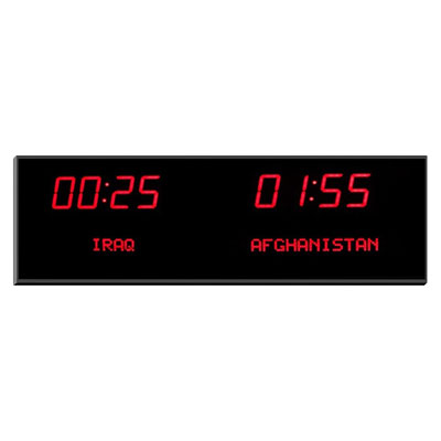 "Roco Verre Deluxe Digital Time Zone Clock 1.8"" Red H16cm x L51.5cm (6"" x 20"") Two Zones"