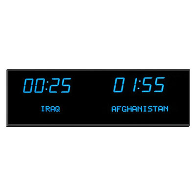 "Roco Verre Deluxe Digital Time Zone Clock 2.5""Blue H18.5cm x L61.5cm (7"" x 24"") Two Zones"