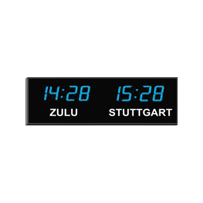"Roco Verre Digital Time Zone Clock 4"" Blue Digits H26cm x L77cm (10"" x 30"") Two Zones"