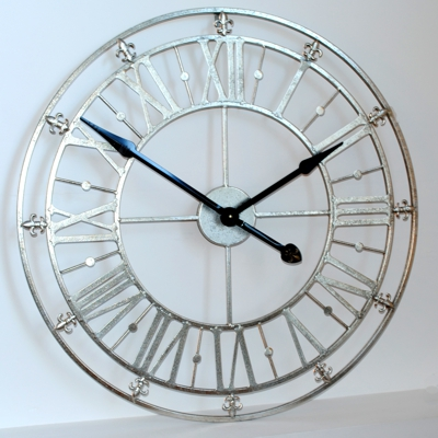 Silver Iron Skeleton Wall Clock 76cm (30) Diameter