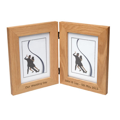Solid Oak Dual Photo Frame Personalised 10cm x 15cm (4x6) Verdana