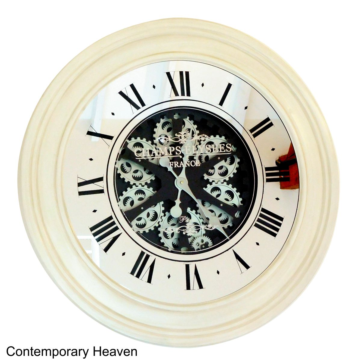Large Gear Wall Clock Antique Style Roman Cream Wall Clock