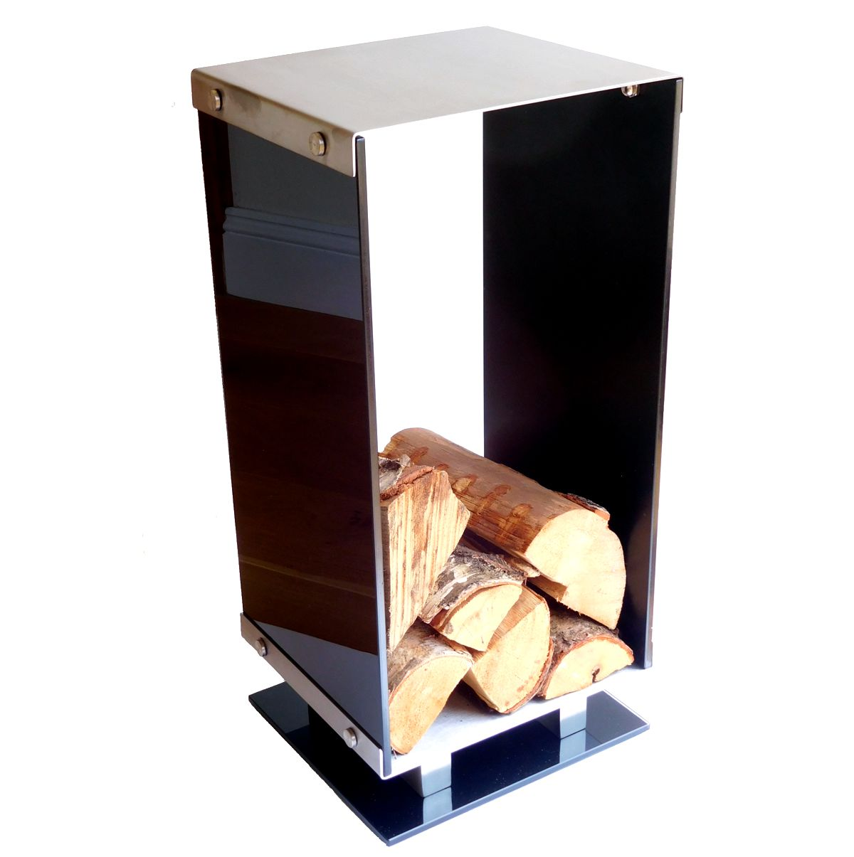 Black Glass Stainless Steel Log Holder Fireside