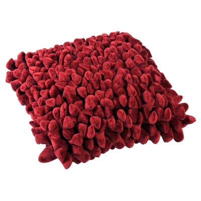 Dreamweavers Chamois Colour Pebble Cushions Cherry Red