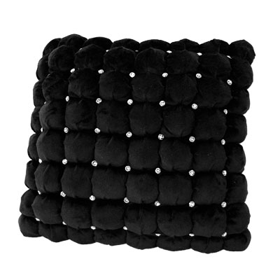 Dreamweavers Swarovski Italian Square Cushion Black 45cm x 45cm (18 x 18 inches)