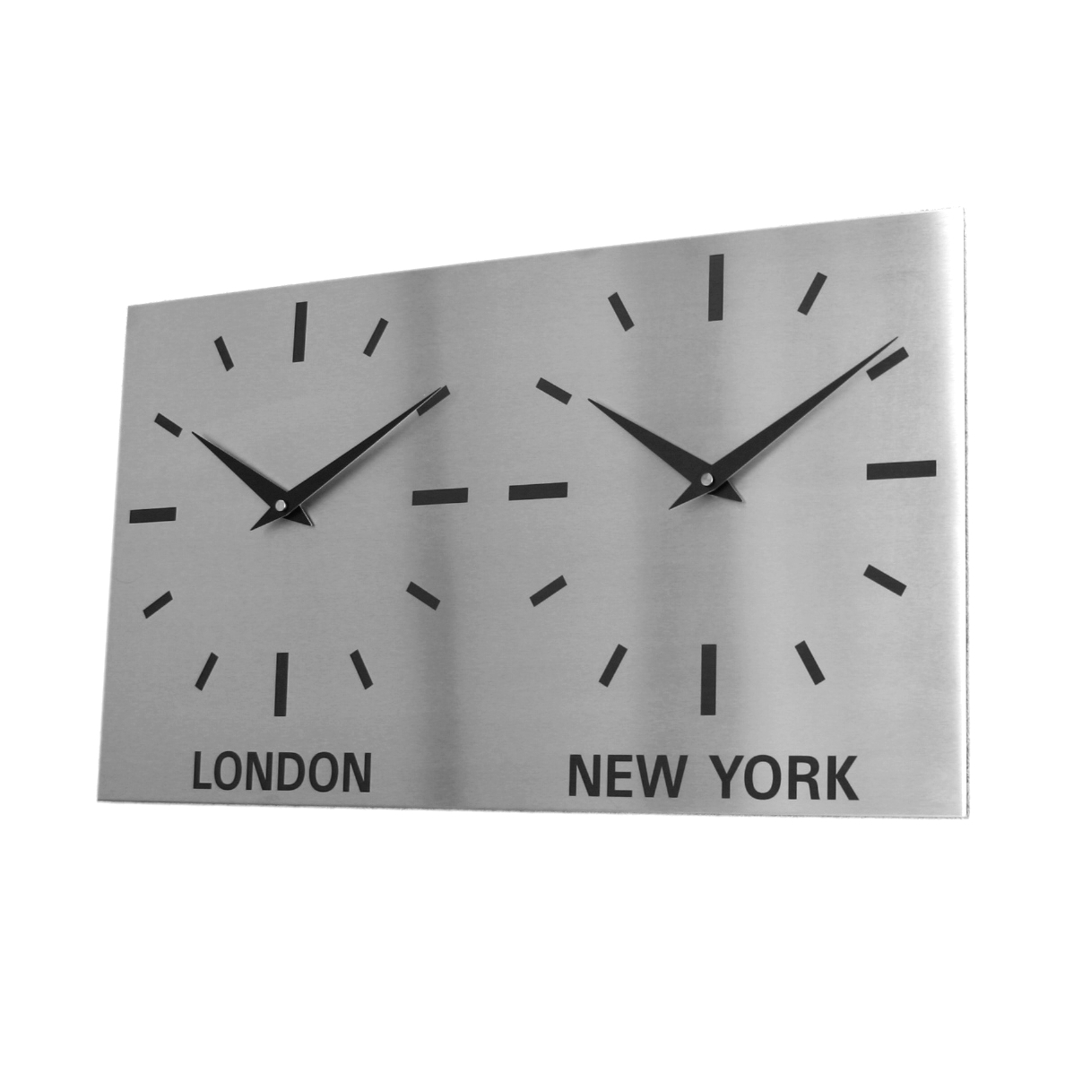 Dual Dial Brushed Stainless Steel Clock  17cm x 30cm (15cm Dial)
