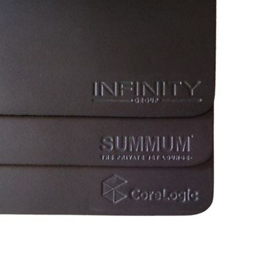 Embossed Debossed Real Leather Mouse Mats Custom Mousemats x 5 with Logo