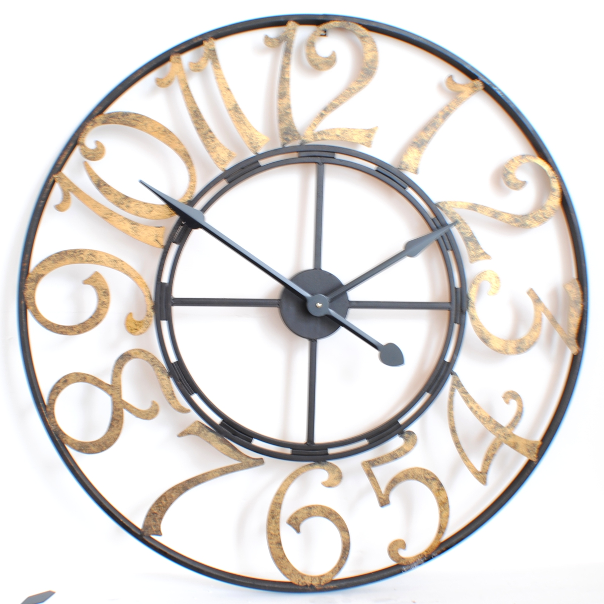 French numbers gold and black skeleton wall clock 90cm diameter