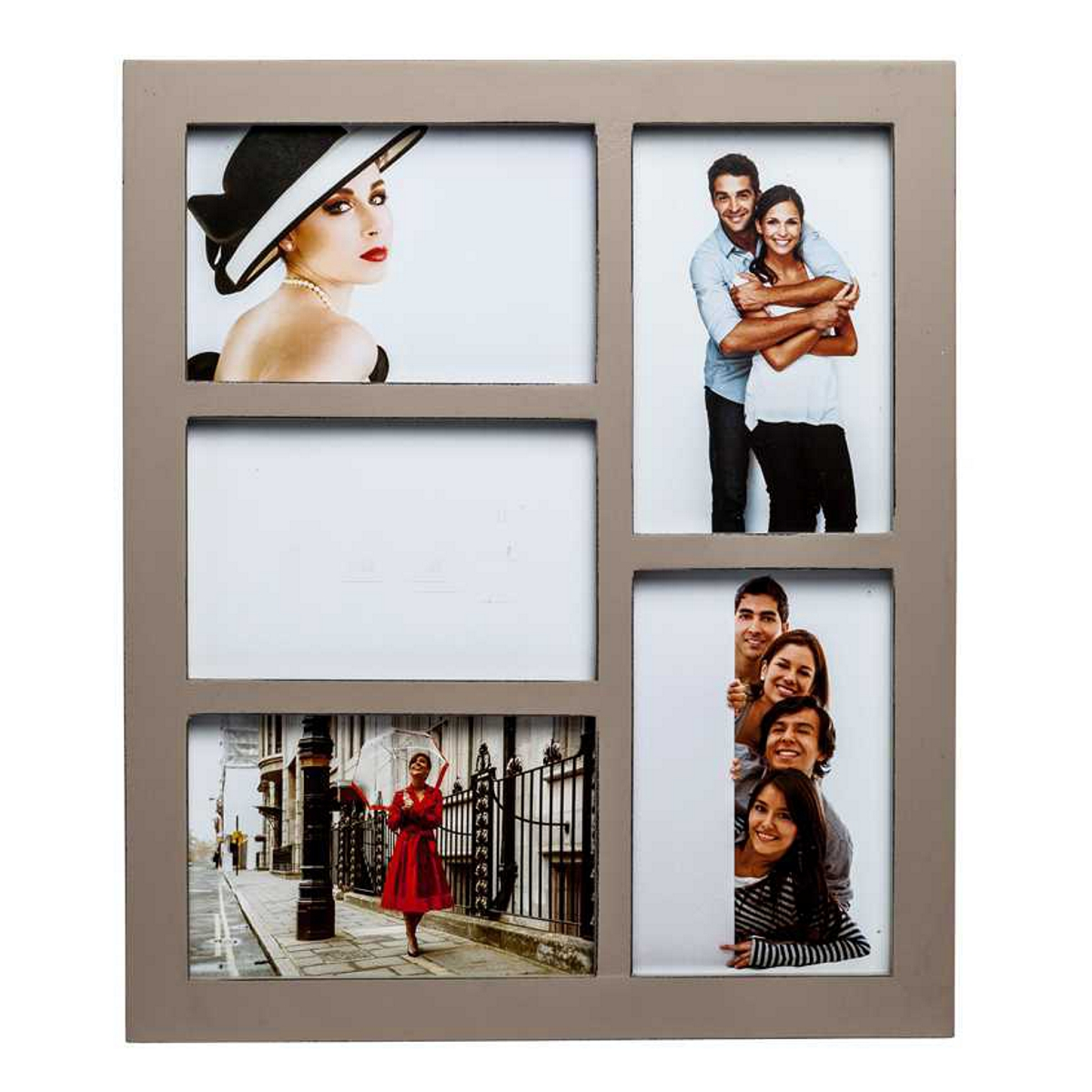 Gallery Brown Five Aperture Multi Photo Frame 35.2 x 30.2 x 3.6 cm