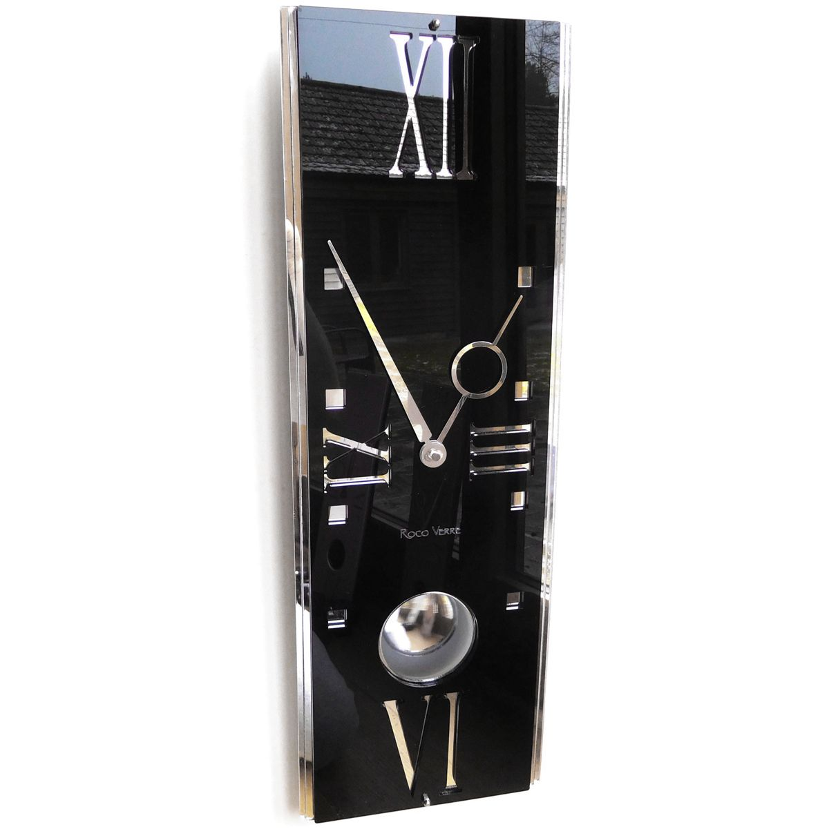 Gloss Modern Deco Vintage Pendulum Wall Clock Gloss Black