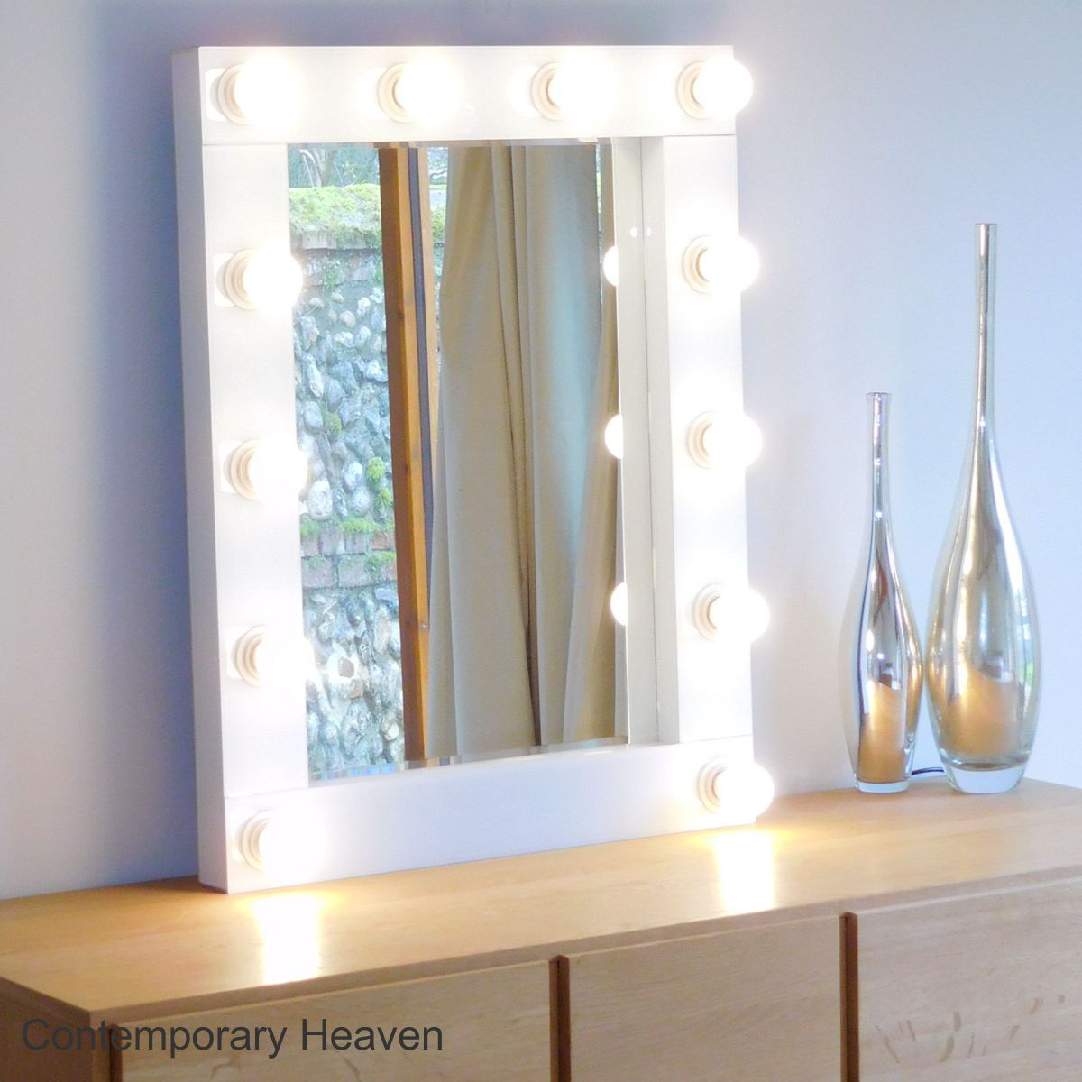 Gloss White Bevelled Hollywood Wall Mirrors Size H80cm x W62cm