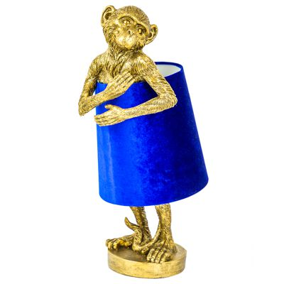 Gold Monkey Table Lamp With Blue Velvet Shade H55.5cm x W23x D23cm