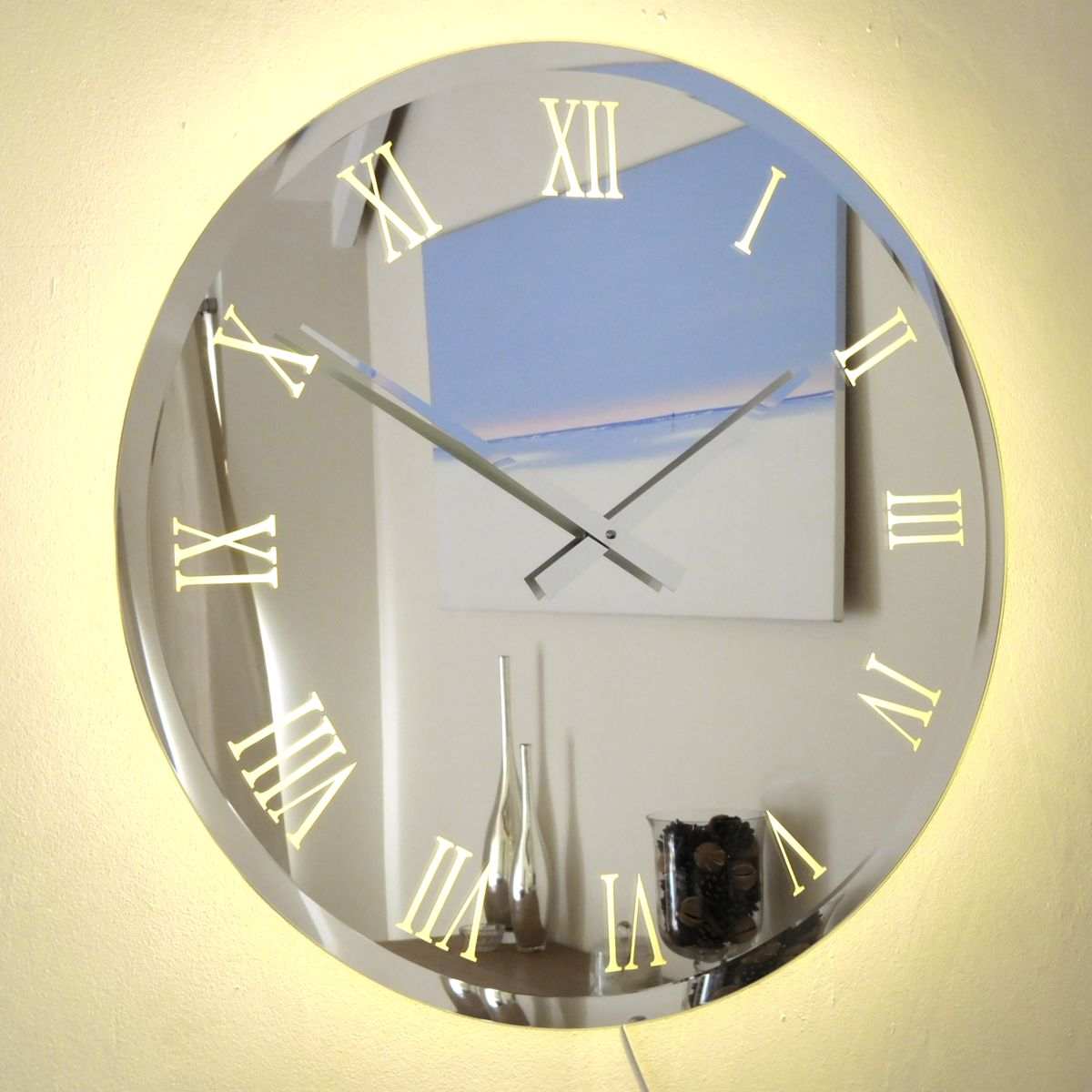 Illuminated Bevelled Roman Mirror Wall Clock Light 65cm Dia