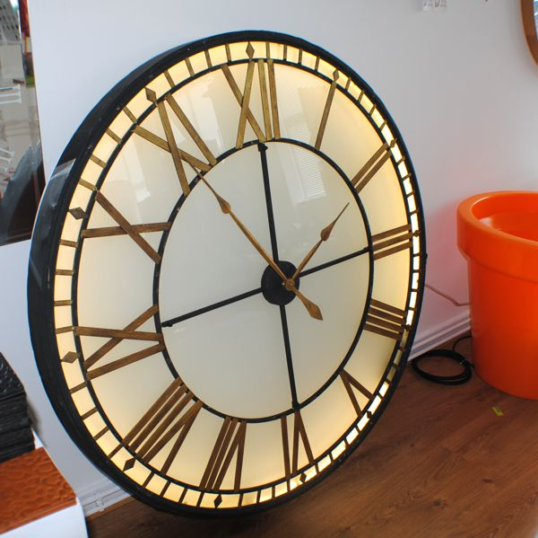 Extra Large big Illuminated Light Big Skeleton Vintage Clock UK