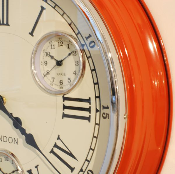 Modern Vintage Time Zone Wall Clock Red