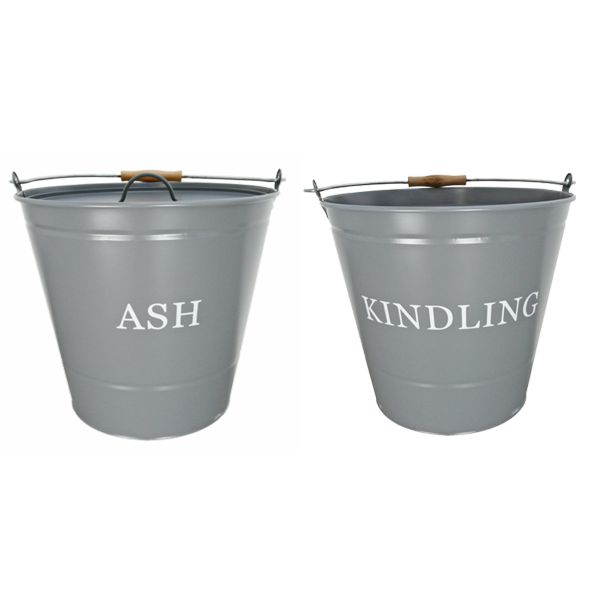 cream metal buckets with wooden handles one printed with ash the other kindling