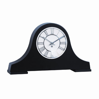 classic style black mantel clock with white face and roman numerals